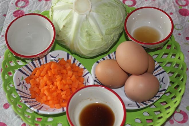 ส่วนผสมในการทำ ไข่ตุ๋นกะหล่ำปลี